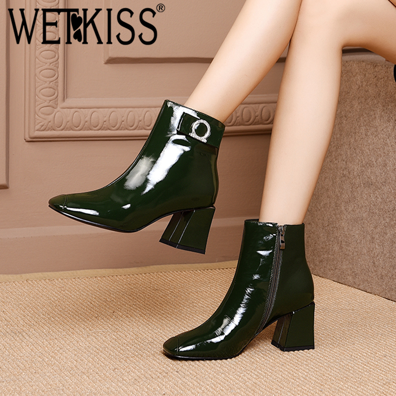 Wetkiss 2018 Plush Altos Plush Cuadrada Moda Botas Punta black Short green Cuero Tobillo Genuino Tacones De green Cristal Mujer Black Invierno Zapatos rAwBrqCx