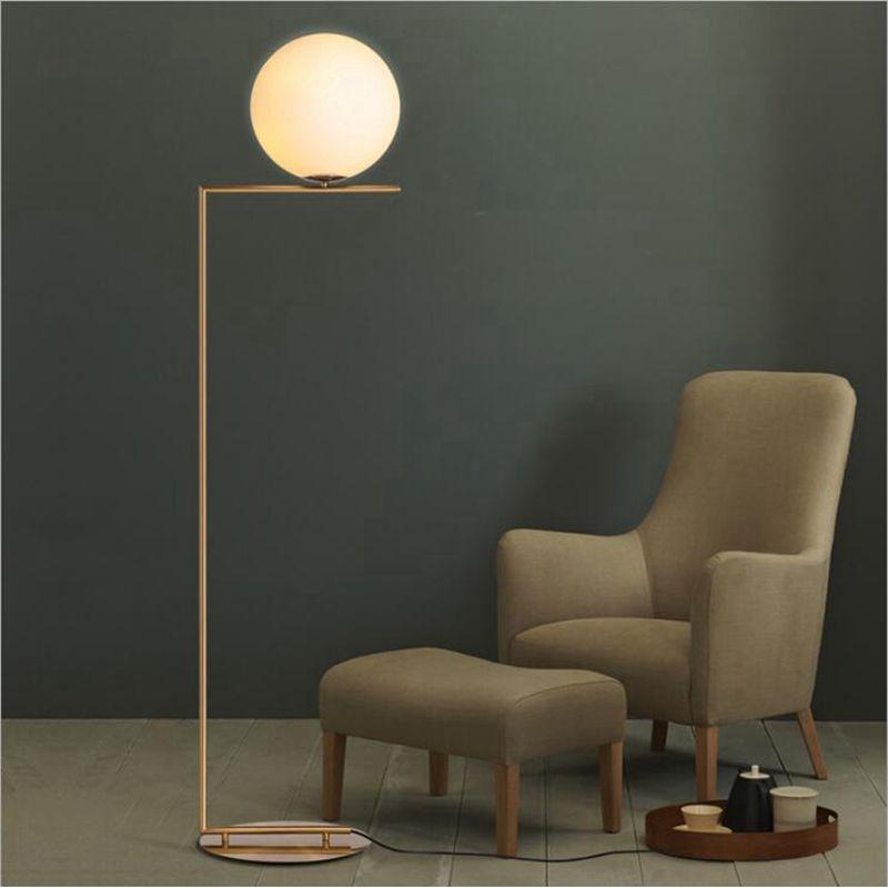 lukloy moderne lampadaire led lampadaire abat jour boule de verre lampe sur pied pour chambre salon or designs