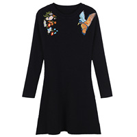 New Europe And The United States Black Long Sleeve Bird Flower Embroidery Self Cultivation Word Dress