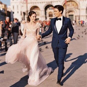 Men's suit two-piece suit (jacket + pants) men's gentleman temperament Slim suit wedding groom groomsmen dress support custom