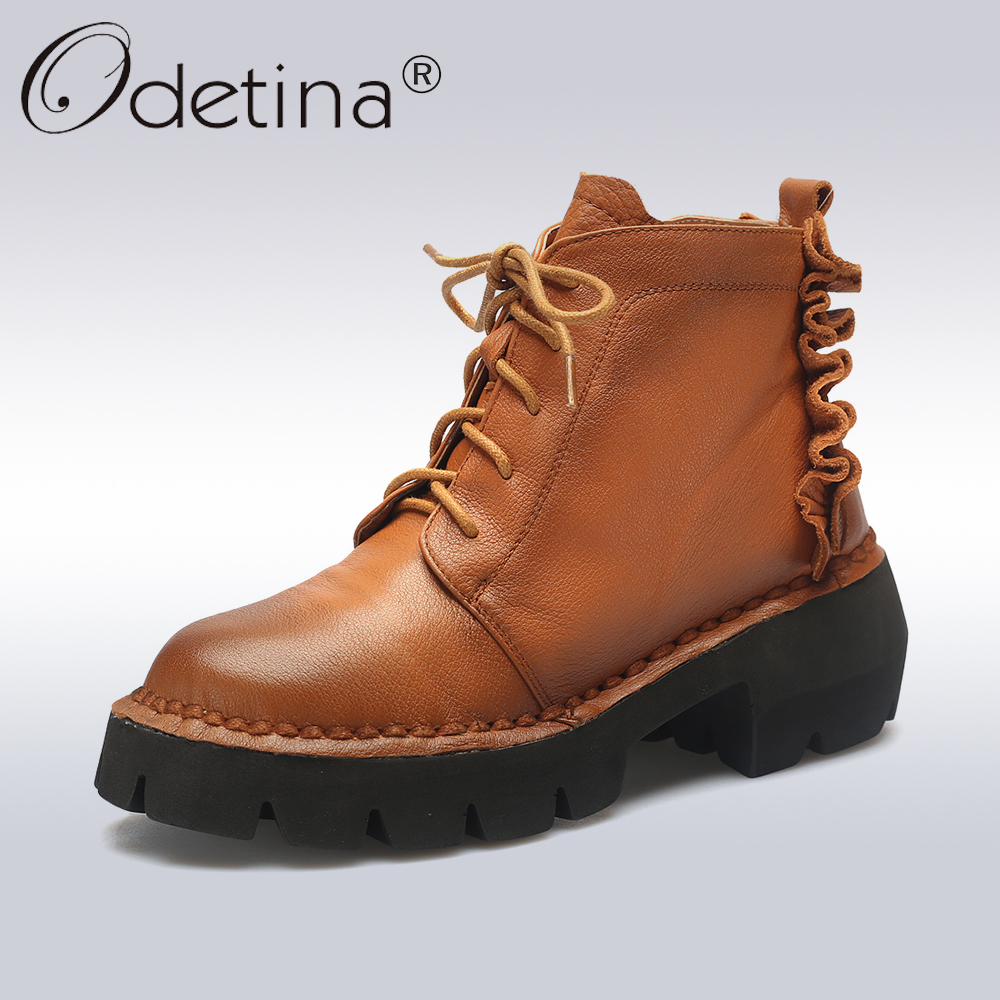 Odetina 2017 Fashion Genuine Leather Women Chunky Heel Lace Up Ankle Boots Platform Round Toe Booties Winter Warm Shoes Casual women winter flats chunky heel genuine leather round toe embroidery fashion warm snow ankle boots size 34 39 sxq01005