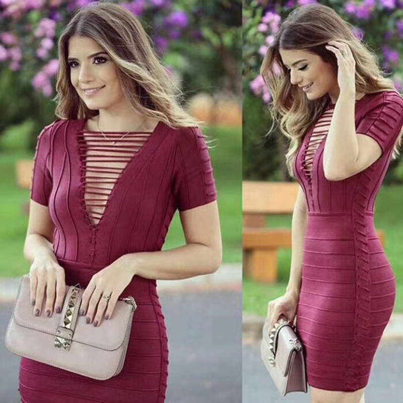 Courtes Rouge Sexy Creux Manches Casual Robes Bandage Nouveau À Out Cocktail Robe Vin Mode Dropshiping Celebrity rCQthsdx