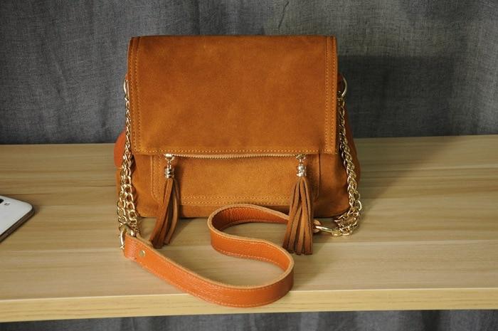 Women Genuine Leather Fringe Shoulder Bags Fashion Cow Suede Tassel Brown Chain Multi Pockets Crossbody Bucket Bags (5)
