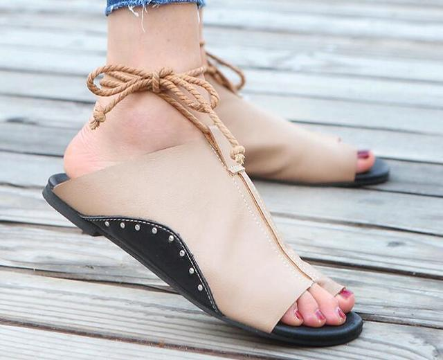 zapatos mujer summer sandals women flats ladies shoes woman ankle strap wedding chaussure femme 2018 lace up P170567 3