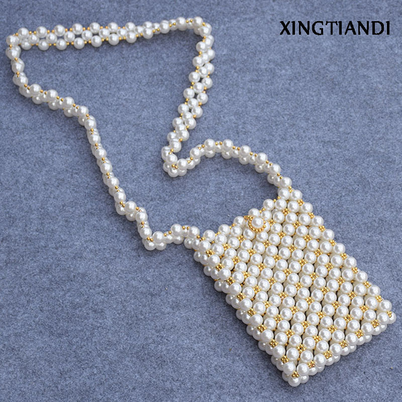 Fashion Handmade Beaded Bag Sac Perle Femme Pearl Bag Flap Crosssbody Evening Bag Clutch