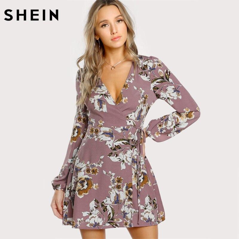 SHEIN Meßhemd Wrap Blumenkleid Multicolor Eine Linie Frauen Kleider 2017 Herbst Stil Tiefen V-ausschnitt Langarm Kleid