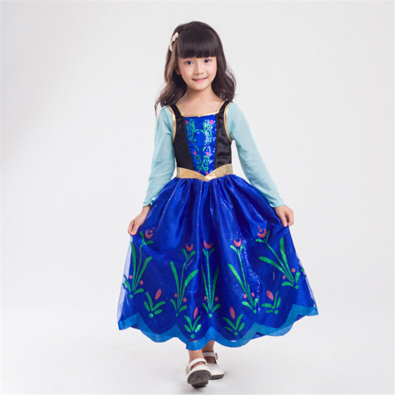 Halloween Kid Queen Elsa Princess Anna Costume Girl's Children Day Snow White Cinderella Fantasia Fancy Dress
