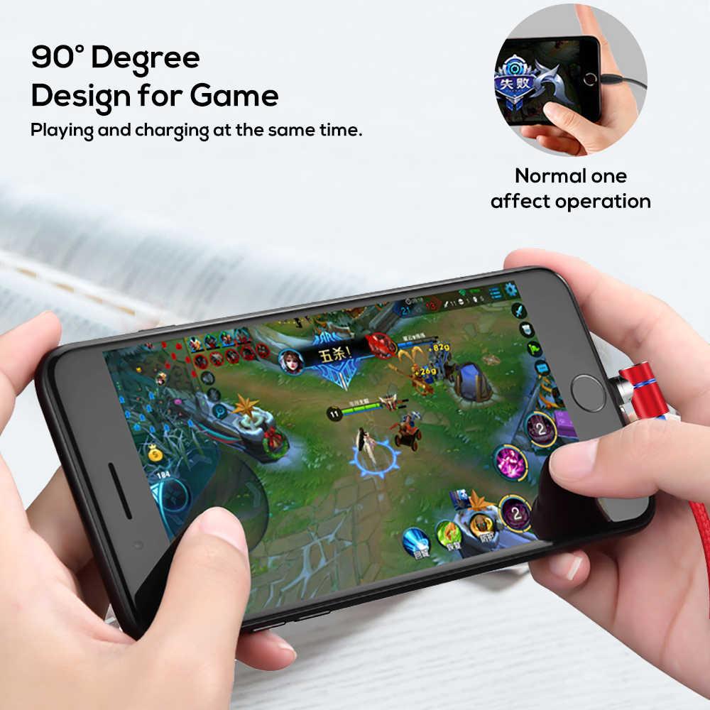90 gradi Magnetico luce che scorre per Micro USB e di Tipo C Cavo di ricarica Veloce Per iPhone X XR 6 7 8 più & xiaomi Samsung S9
