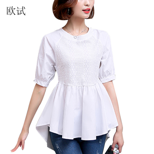 Women White Cotton Blouse Mesh Hollow Out Fashion Top Shirt Womens