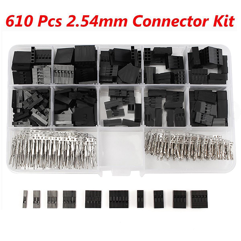 610pcs/set Dupont Connector 2.54mm Male Female Jumper Header Housing Cable Wire Terminal Connector Crimp Pins Kit With Box 2 54mm dupont wire cable jumper pin header connector housing kit 310 pcs male crimp pins female pin connector terminal pitch