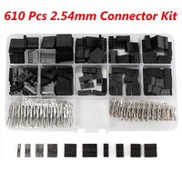 610pcs Set 2 54mm Dupont Jumper Housing Connector Header Male Female Crimp Pins Kit With Box
