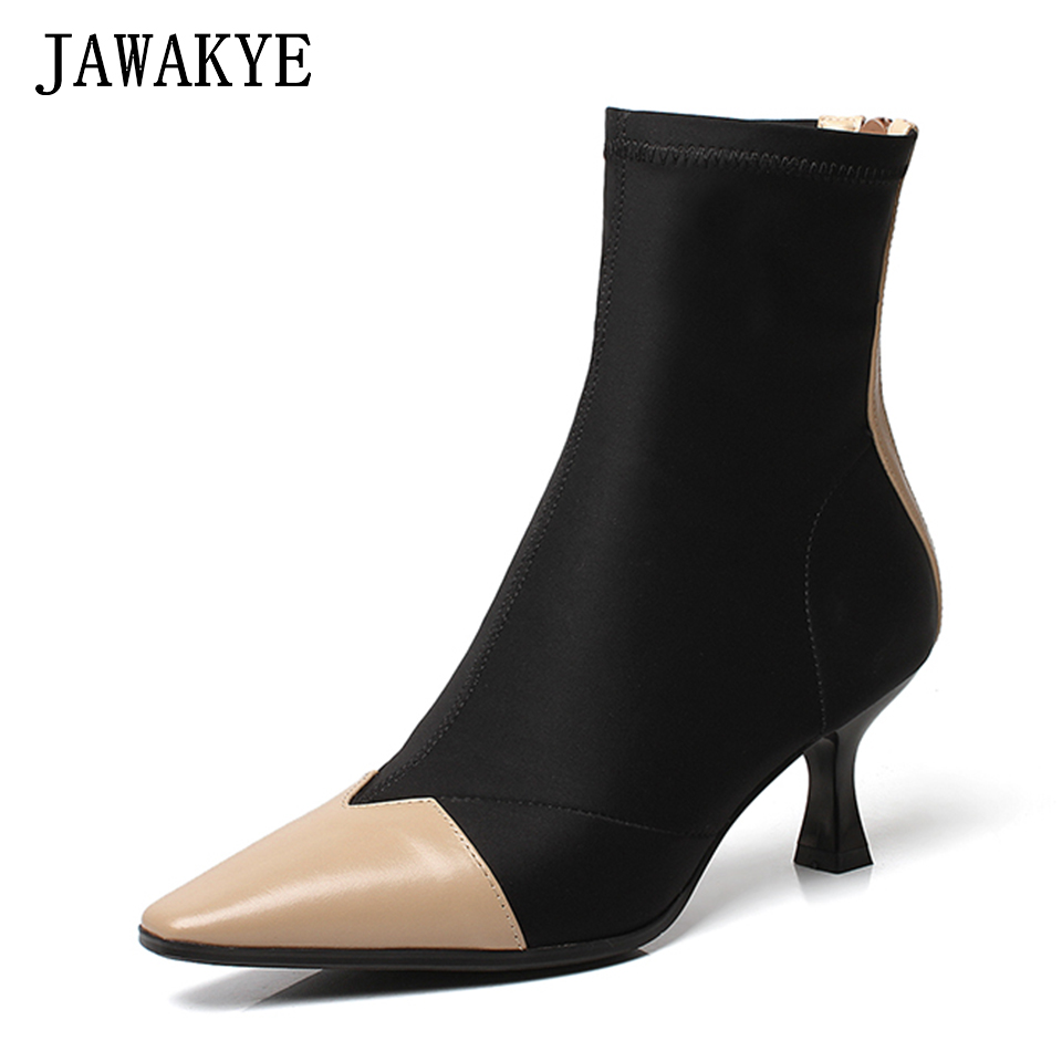 JAWAKYE Sexy Sock Ankle Boots Women Pointed Toe Leather Elastic cloth Patchwork High Heels Shoes Summer Sock Boots Botas Mujer
