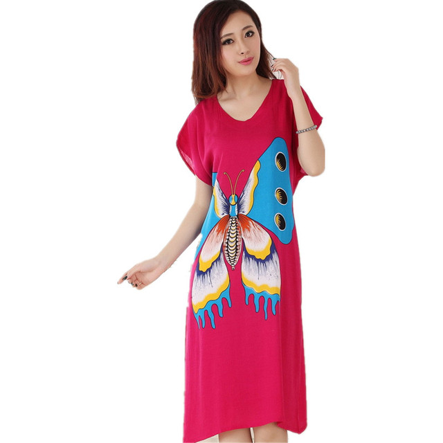 New Arrival Hot Pink Butterfly Summer Short Sleeve Lady's Cotton Nightgown Chinese Style Robe Bath Gown Sleepwear One Size T071