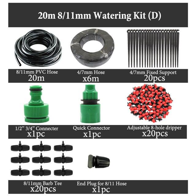 MUCIAKIE 25M 8/11 & 4/7mm Principal Linha de Plantas de Jardim Automático de Rega Kits De Irrigação por Gotejamento Micro sistema de Sistema de Rega Auto