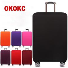 OKOKC Travel Thicken Elastic Pure kolor walizka pokrowiec ochronny Zastosuj do 18-32inch etui Akcesoria podróżne tanie tanio W OKOKC Poliester Stałe Pokrowiec na bagaż T2155 80cm 54cm 0 25g 33cm