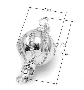 Zirconium ondulé insérer le fermoir en argent, 12mm bricolage collier en cristal de perle naturelle de haute qualité, fermoir bracelet. -L52C