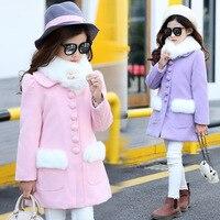 Bebek Kız Yün Ceket Prenses Pembe Uzun Kollu Palto Kış Ceket Karışımları Için Çocuklar Kalın Ceket Çocuk Giyim Giyim 3-14