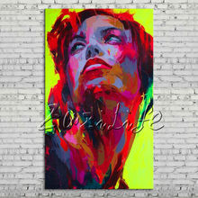 Palette knife portrait Face Oil painting Character figure canvas Hand painted Francoise Nielly wall Art picture 013