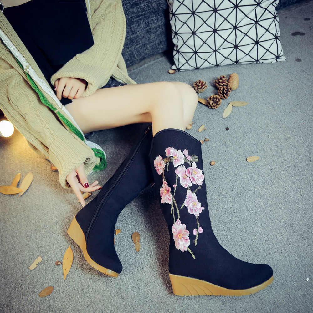 Veowalk Thêu Hoa Nữ Vải Bố Giữa Giày Khóa Kéo Ẩn Nêm Gót Nữ 30 cm Cao Boot Các Nền Tảng Giày Botas mujer