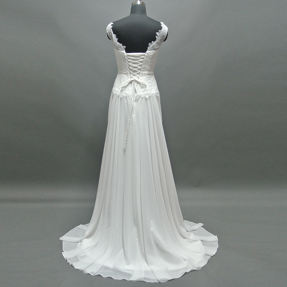 Bodice Wedding Gown: 2019 Real Photos A Line Sashes Cap Sleeve Lace Bodice