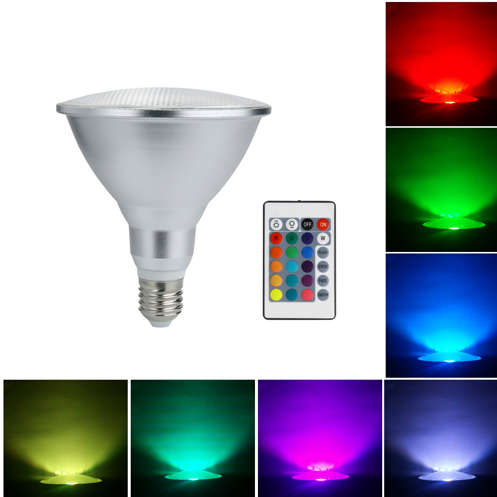 Led Spotlight Color Changing Light Bulb E27 20w Par38 Dimmable Rgb Magic Outdoor Flood With Remote Control