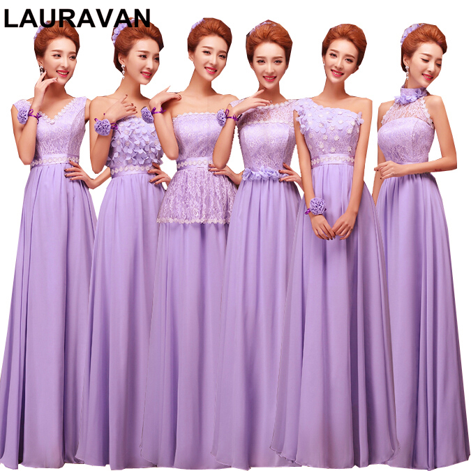 2019 Lady Long Sexy Gown Lilac Lavender Party Lace Beach Chiffon A Line Lace-up Women Princess Dress For A Wedding