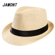 Paja del verano de la manera de los hombres sombrero Fedora Cap Summer Beach  gángster Panamá 6fe021cd1ee