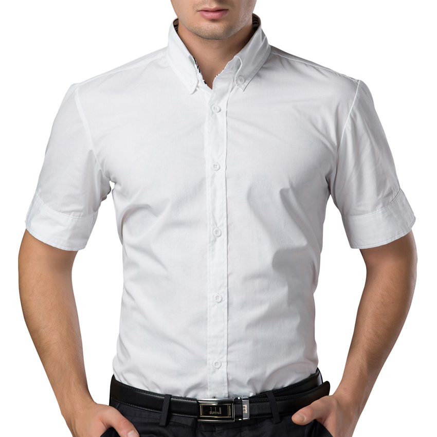 ecc54812e32f Summer Style Designer Short Sleeve Casual Slim Fit Men Social Shirt Black  White Plus Size Men s Shirts Tops CL1060
