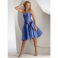 Envío libre 2018 de la boda vestidos de dama de longitud de Té Azul vestido de fiesta corto ningunas compras del riesgo zip grandes yardas
