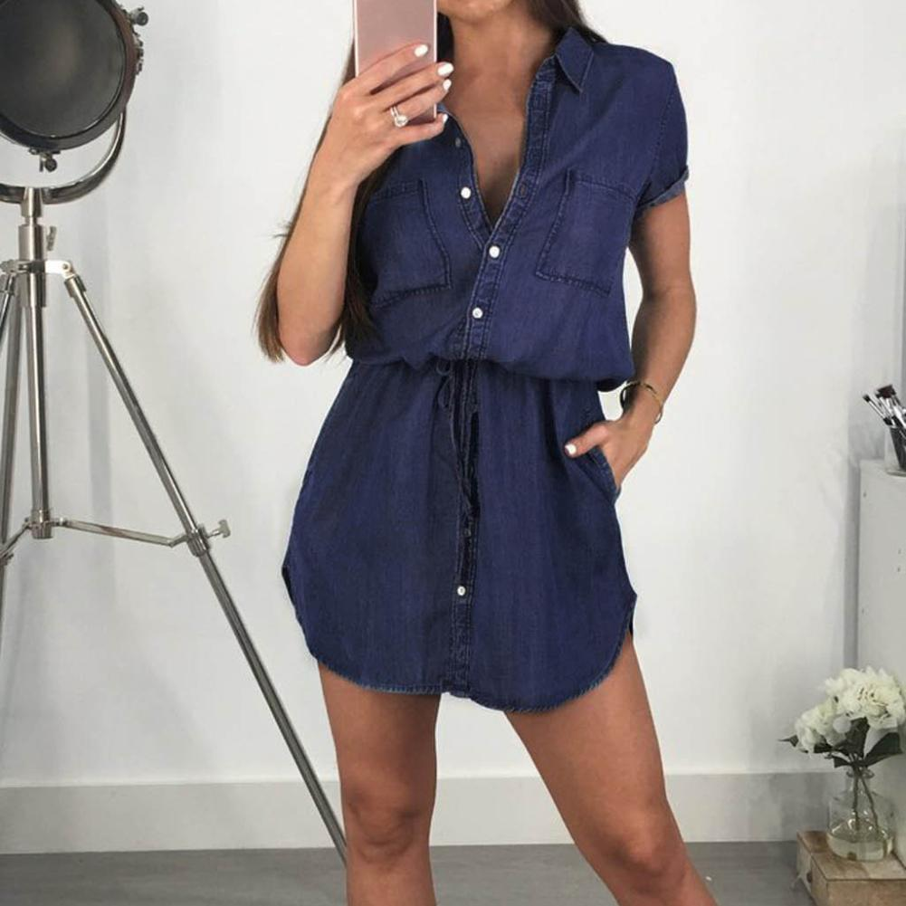 Women Casual Denim <font><b>Dresses</b></font> Pockets Elegant Cowboy Women Slim Shirt <font><b>Dress</b></font> <font><b>Jeans</b></font> Buttons <font><b>Sexy</b></font> Short Sleeve Mini <font><b>Dress</b></font> Vestidos image