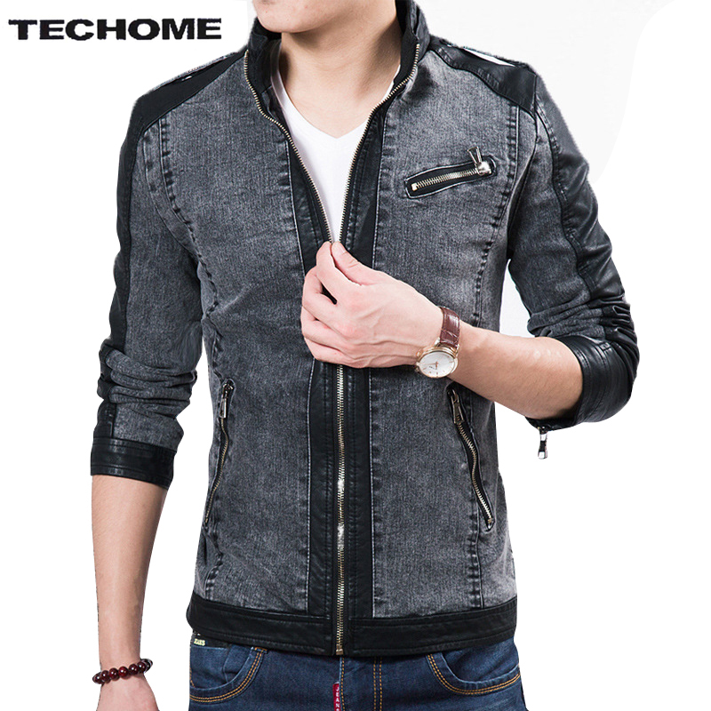 2017 Fall Top Quality Boutique Brand Jeans Jacket Men Slim Fit Male Leather Jacket Casual denim Jackets For Men Chaqueta Hombre