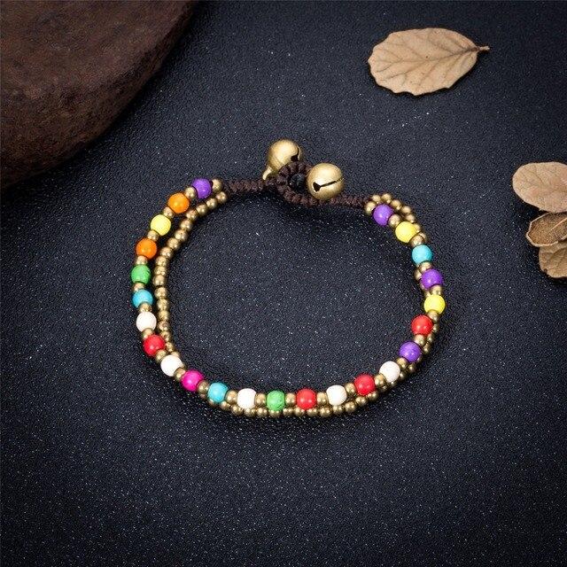 Женский двухслойный браслет цепочка из богемного сплава ручной