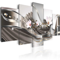 5 Pieces Hot Sell Modern Painting White Orchid Home Decor Canvas Painting Wall Art For Living