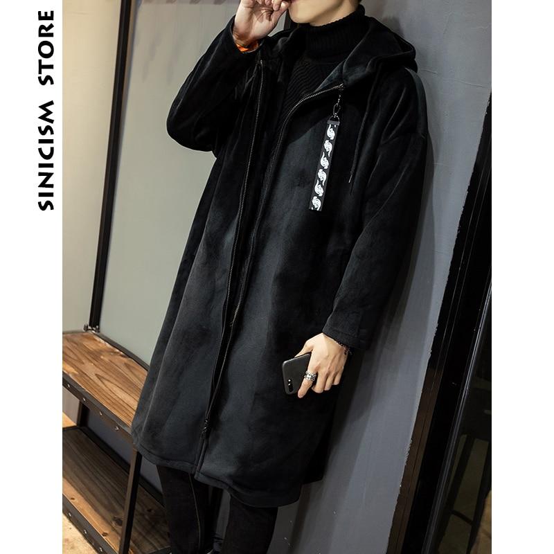 Sinicism Store Men Thicken Velour   Trench   Coat 2018 Man Black Long Coat Men Brand Casual Zipper Korean Windbreaker Jackets