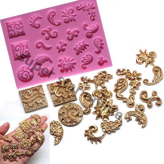 Mini Scrolls Silicone Mold Cake Molds Vintage Flower