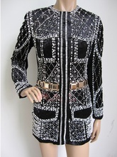BMC021 women pearl jacket/lady beads jacket/pearl jacket/fashion beading jacket/Napoleon uniform/beaded coats/Pop performance