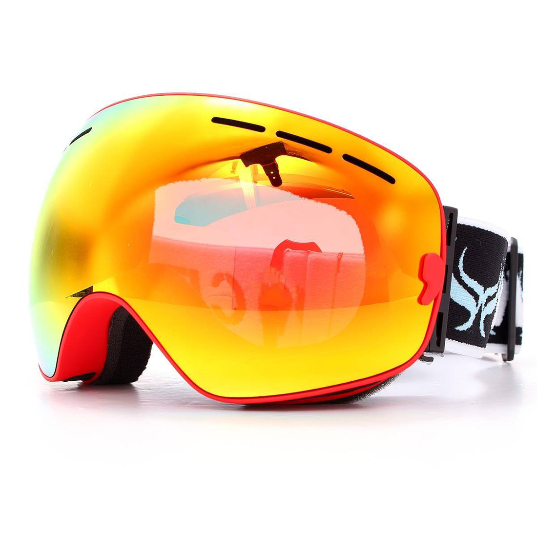 BENICE ski goggles double layer anti-fog eyes red frame