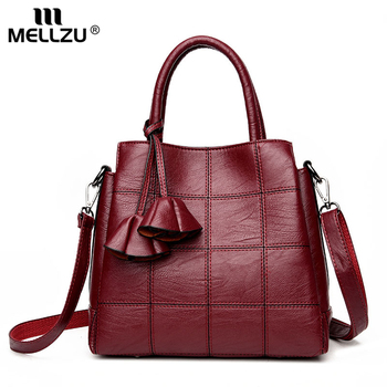 Mellzu Vintage Fashion Plaid Bag Women PU Leather Casual Flap Handbag Tassel Shoulder Bag Ladies Party Messenger Crossbody Bags  grande bolsas femininas de couro