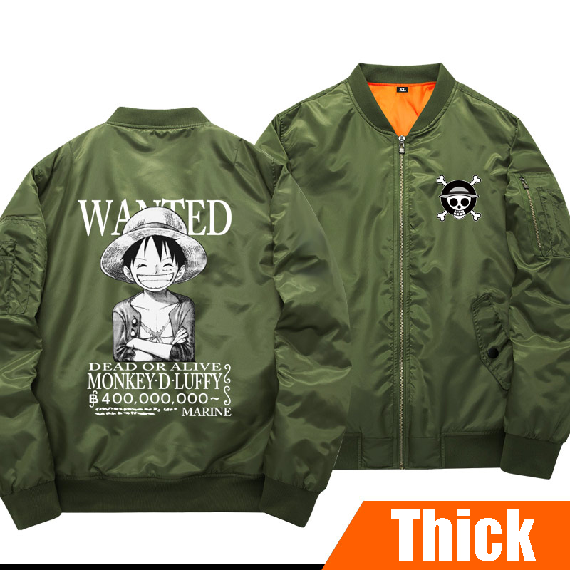 Plus sizes Luminous Anime ONE PIECE Figure Luffy Ace Unisex Thick Cotton-padded clothes Winter Coat Cosplay pilot jacket stock