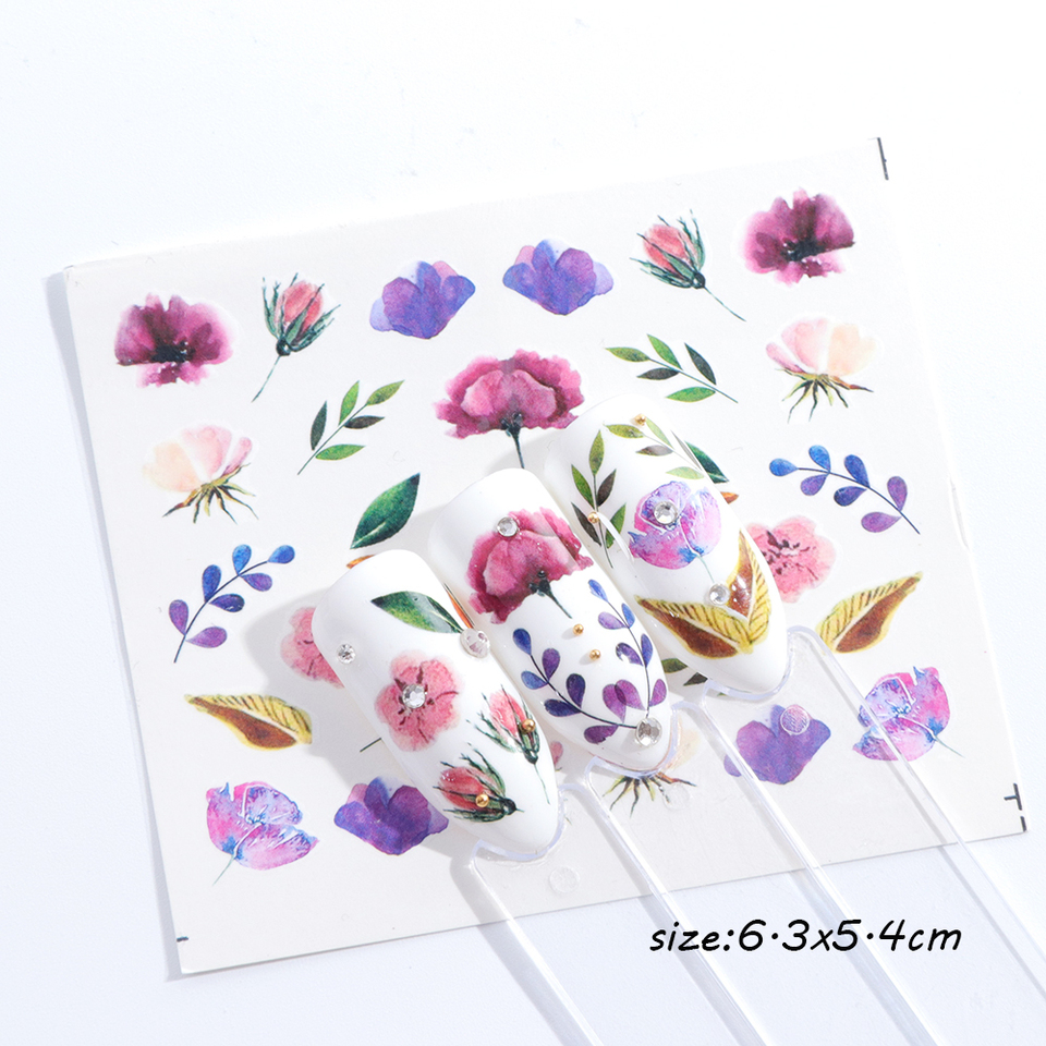 1 Pcs Charming Watermark Nail Art Stickers Colorful Floral Pattern
