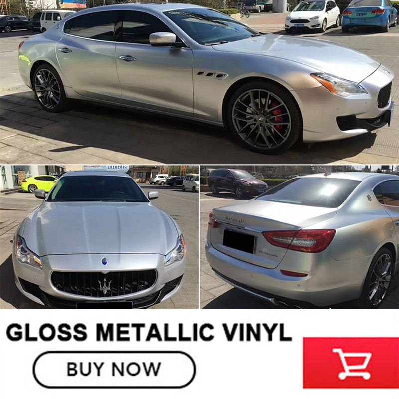 Silver  Glossy Silver Color Chrome Metallic Car Body Wrap Vinyl Film With Air Release Size 1.52x20m/Roll