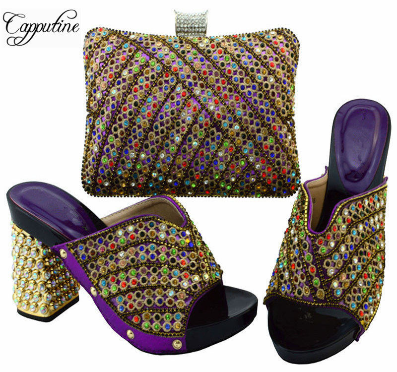 Capputine 2017 New Italian Ladies Shoe And Bag Set Hot Selling Rhinestone Nigerian Shoes And Bag Set For Woman Party YM005 italian visual phrase book