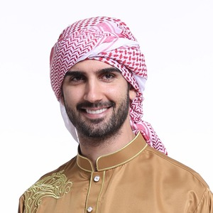 Image 3 - 140x140CM Mens Headscarf Turban Hat Muslim Arab Dubai Retro Geometric Wavy Patterns Jacquard Square Scarf Shawl Islamic Hijab