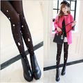 80D Candy Color Women Hand Made Diamonds Tights Female Pantyhose Rhinestones 8213BW