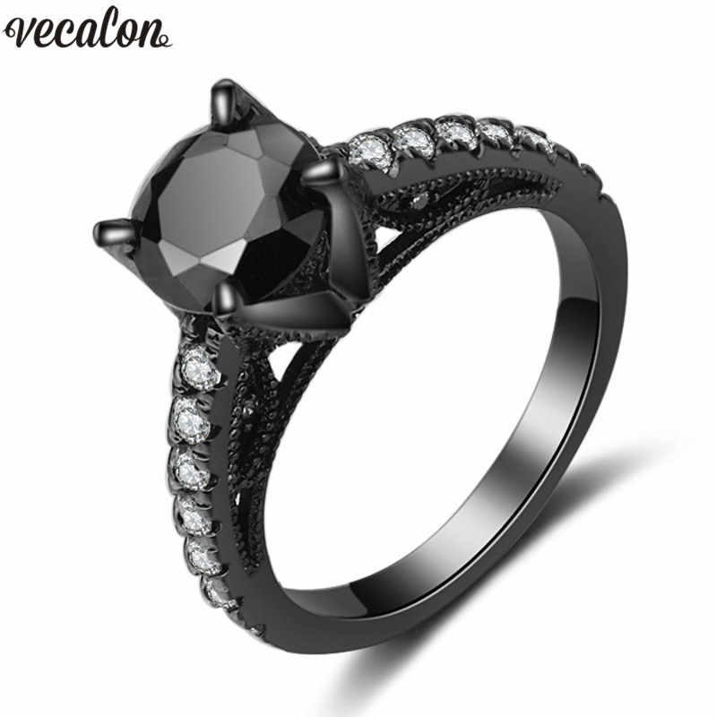 Vecalon Prong set Women ring 5A Zircon Cz Black gold filled Anniversary wedding Band ring for women men Fashion Jewelry titanium ring