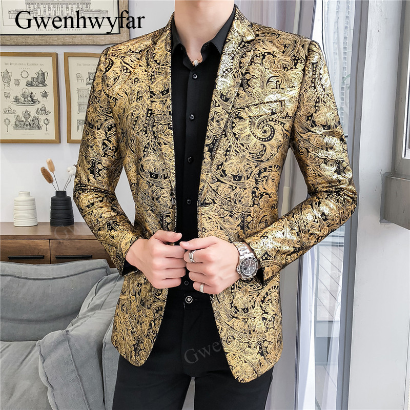 Gwenhwyfar Men's Floral Party Stage Suits Stylish Dinner Paisley Gold Pattern DJ Club Singer Dancer Jacket Wedding Men Blazer