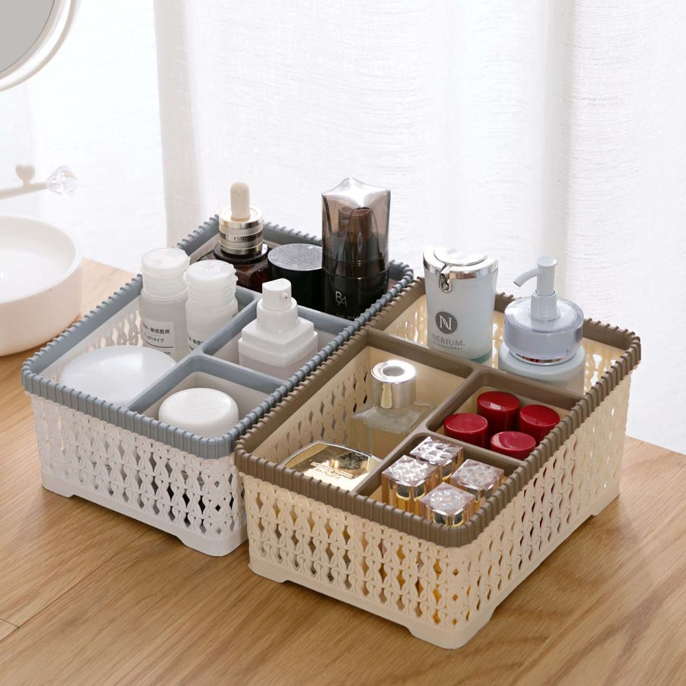 Lmitation Rattan Makeup Organizer Box Cosmetic Storage Box Container Desktop Storage Box Bin Makeup Holder Bathroom Organizer