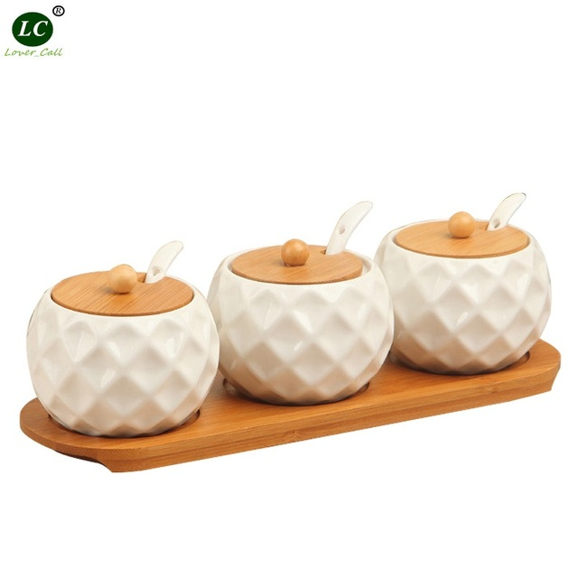 Ceramic Seasoning Bottle Kitchen Utensils seasoning Box Salt can sugar Monosodium Glutamate Pepper Seasoning can pepper Jar