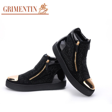 GRIMENTIN brand designer ankle boots mens shoes genuine leather luxury trendy rivets party winter botas shoes men for leisure
