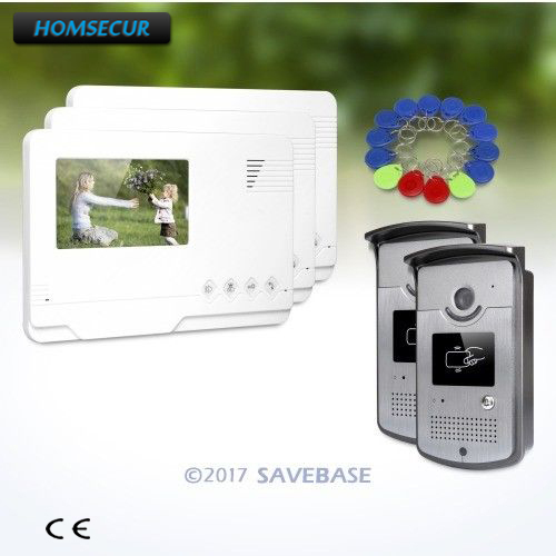 HOMSECUR 4.3 Wired Hands-free Video Door Entry Call Intercom with One Button Unlock for Home Security 2V3
